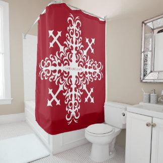 White medieval snowflake on red