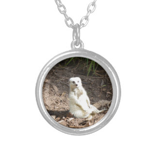 White_Meerkat_Grins,_Pendant_Necklace Silver Plated Necklace