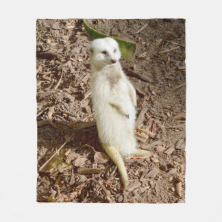 White Meerkat, Medium Fleece Blanket.