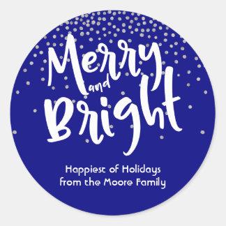 White Merry and Bright w/ Navy & Silver Confetti Classic Round Sticker
