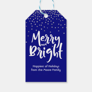 White Merry and Bright w/ Navy & Silver Confetti Gift Tags