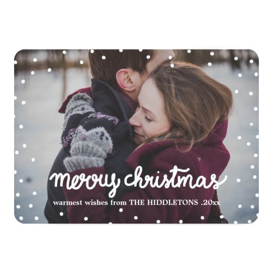 White Merry Christmas Typography Simple Photo Card