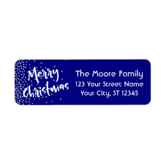 White Merry Christmas w/ Silver Confetti Over Navy Return Address Label