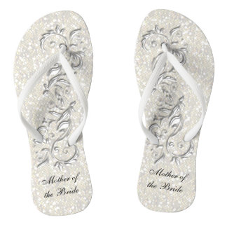 White Metallic Floral & Confetti Glitter | Wedding Flip Flops