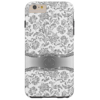 White & Metallic Silver Floral Damasks Tough iPhone 6 Plus Case