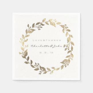 White Metallic Urban Sepia Gold Wreath Name Disposable Napkins