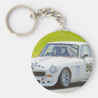 White MG race car Keychains