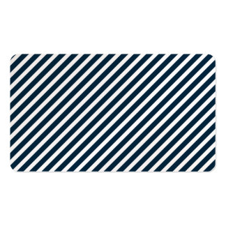 White & Midnight Blue Candy Cane Christmas Stripes Business Card Template