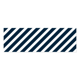 White & Midnight Blue Candy Cane Christmas Stripes Business Cards
