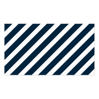 White & Midnight Blue Candy Cane Christmas Stripes Business Card Templates