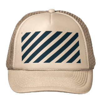 White & Midnight Blue Diagonal Candy Cane  Stripes Hats