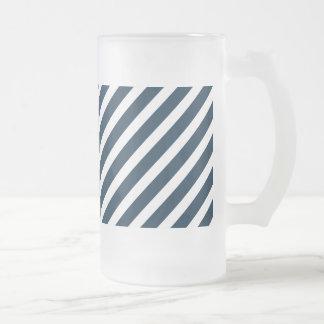 White & Midnight Blue Diagonal Candy Cane  Stripes Coffee Mugs