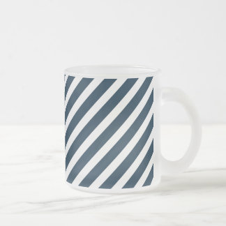 White & Midnight Blue Diagonal Candy Cane  Stripes Mugs
