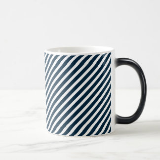 White & Midnight Blue Diagonal Candy Cane  Stripes Mug