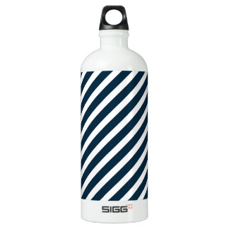 White & Midnight Blue Diagonal Candy Cane  Stripes SIGG Traveler 1.0L Water Bottle