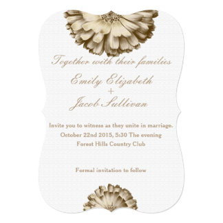 "White Minimal with Gold Daisy Inspired Wedding 5"" X 7"" Invitation Card"