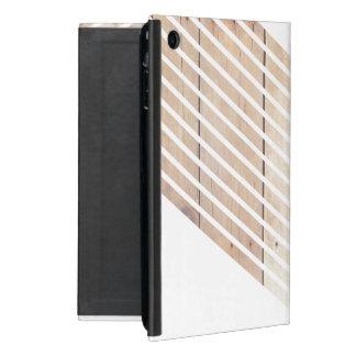 White Minimalist chevron with Wood Cover For iPad Mini