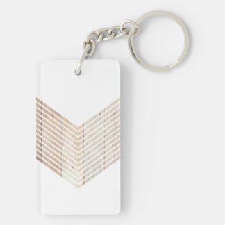 White Minimalist chevron with Wood Keychain