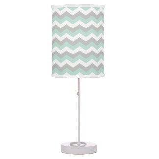 White Mint Green Gray Chevron Zigzag Stripe Table Lamp