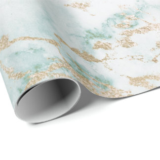 White Mint Green Tiffany Gold Stone Marble Wrapping Paper