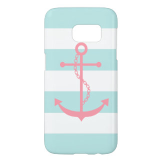 White Mint Pink Wide Stripes Pattern Anchor Samsung Galaxy S7 Case
