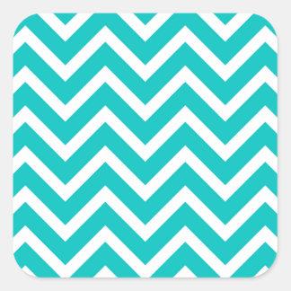 white mint white zig zag pattern design square sticker