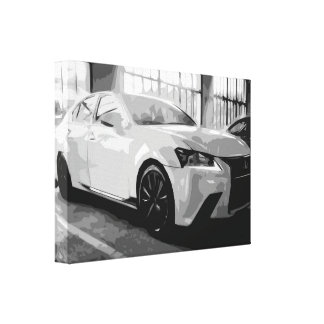 White Modern Car Canvas in Black and White