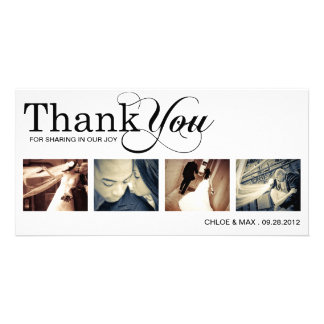 WHITE MODERN THANKS | WEDDING THANK YOU CARD PHOTO CARD TEMPLATE