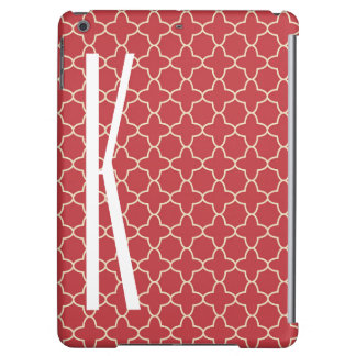 White Monogram on Retro Red Quatrefoil Pattern iPad Air Case