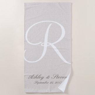 White Monogram | Rustic Linen Look Beach Towel