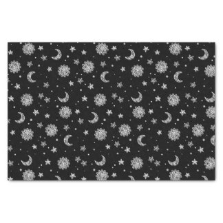 White Moons & Stars Tissue Paper