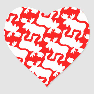 White Moose Silhouette pattern on Red Heart Sticker