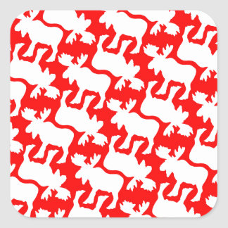 White Moose Silhouette pattern on Red Square Sticker