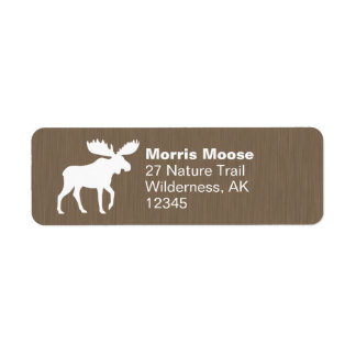 White Moose Silhouette Return Address Label
