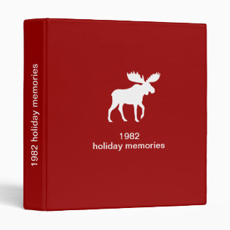 White Moose with Custom Text 3 Ring Binder