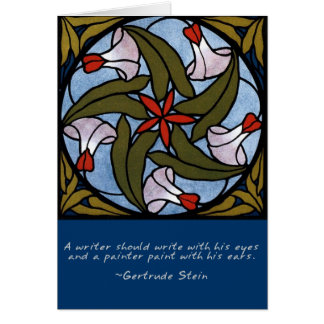 White Morning Glories Gertrude Stein Quote Card