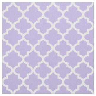 White Moroccan Quatrefoil | Light Purple Pattern Fabric