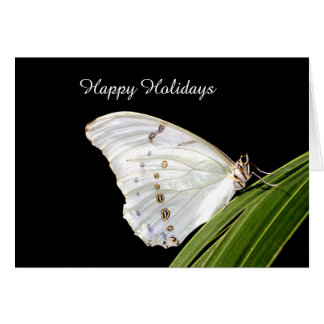 White Morpho butterfly on leaf Happy Holidays Card