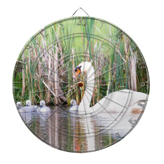 White mother swan swimming with chicks dartboard