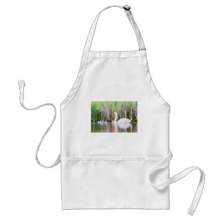 White mother swan swimming with chicks standard apron