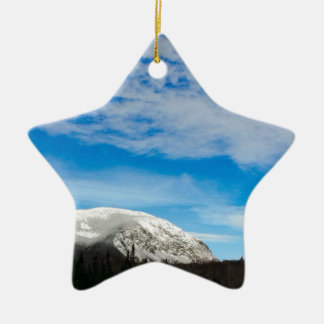White Mountain Blue Sky Landscape Ceramic Ornament