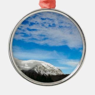 White Mountain Blue Sky Landscape Metal Ornament