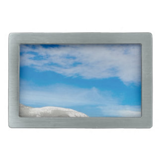 White Mountain Blue Sky Landscape Rectangular Belt Buckles