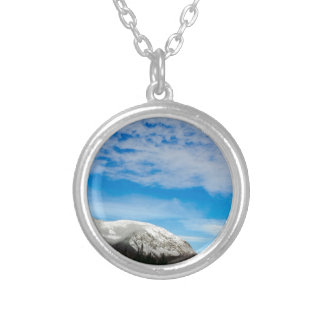 White Mountain Blue Sky Landscape Silver Plated Necklace