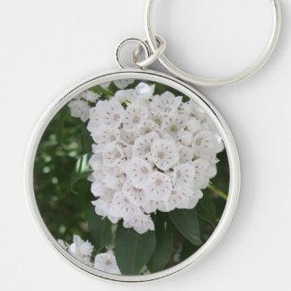 White Mountain Laurel Floral Button Keychain