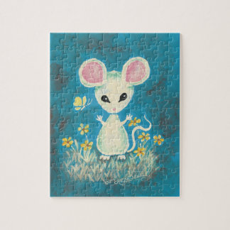 White Mouse with Yellow Flowers & Butterfly. Jigsaw Puzzle