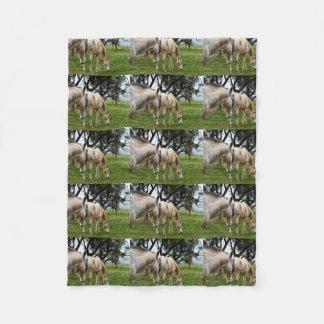 White Muddy Horses Grazing, Small Fleece Blanket