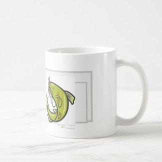 white mug with catfish