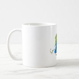 White mug with grapes