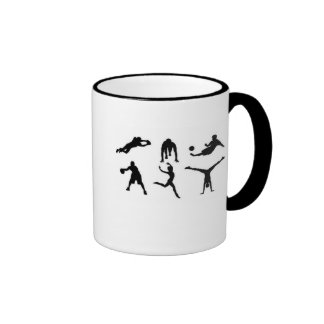 White mug with sports pictures.